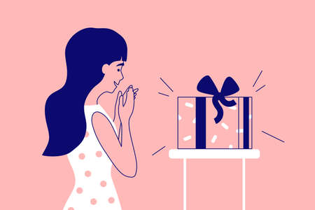 Young pretty woman surprised by gift box with festive ribbon. Excited cute girl folds hands looking at packaged present. Greeting Happy birthday, pleasant holiday surprise. Joyful vector illustration
