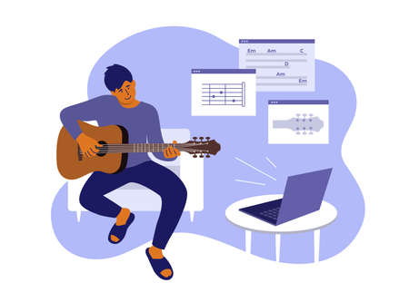Young man sitting home, learning playing guitar. Online video course of play musical instrument. E-learning music by laptop. Virtual class of notes, chords lesson. Leisure, hobby vector illustration