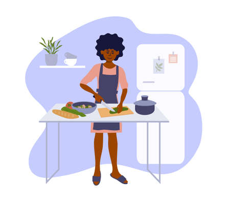 African american woman cooking homemade meals in small cozy kitchen. Stay home cook healthy food. Black female cutting vegetable to salad. Girl preparing dinner or lunch. Lifestyle vector illustration