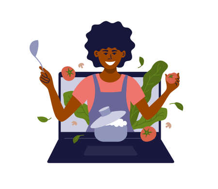 African american woman with kitchen utensils look out of laptop. Black female vlogger preparing healthy food online. Blog, show or cooking class. Culinary video broadcast, channel vector illustration Ilustração