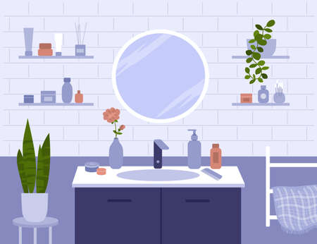 Bathroom vector illustration. Round mirror, shelves with beauty care cosmetics, plants, towel. Scene of daily morning or evening routine. Interior of bath room. Body and face skin cream, comb on sink Ilustração