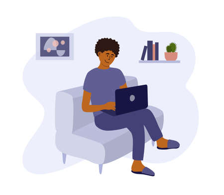 Young man working, studying or playing using laptop. Student or freelancer sitting on sofa. Online education, remote virtual work. Programmer workplace, home office in apartment. Vector illustration Ilustração