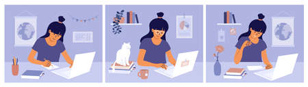 Home schooling vector illustrations set. Online education, e-learning, training concept. Young woman typing on laptop, writing, making homework. Student girl studying remotely. Computer distance work