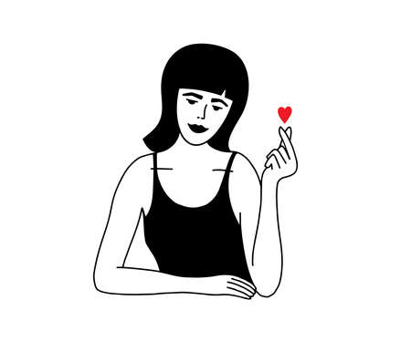 Young woman making fingers gesture small red heart. Cute girl showing hand sign of love. Minimalistic female portrait with mini heart icon. Self care, body positive. Valentines day vector illustration