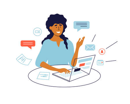 Work multitasking concept. Woman working by laptop, talking making video call. Female chatting online. Remote office, job, business task, workplace. Email, notice sign. Technology vector illustration