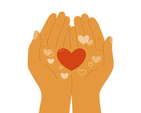 Human hands holding heart shapes in palms. Empathy, sharing, giving love. Charity donate, volunteer help. Happy Valentine day postcard. Self or body taking care concept. I love you vector illustration