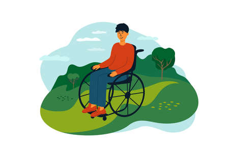 Young man sitting in wheelchair enjoying nature landscape. Handicapped person lifestyle. Smiling disabled guy in casual clothes. Outdoor leisure activity with physical disability. Vector illustration