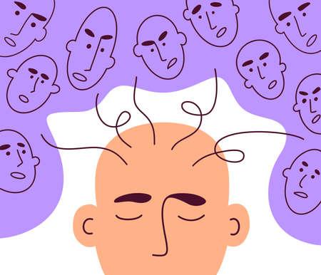 Social pressure, manipulation, criticism, bullying. Human faces give advice. Psychological influence, emotional stress. Mental addiction of people opinion. Info or news overload. Vector illustration Ilustração
