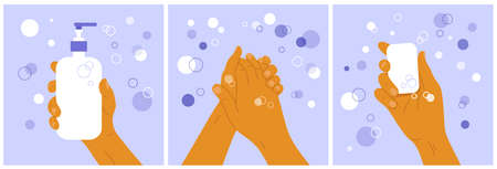 Wash your hands concept. Set of medical posters with soap suds, bubbles and human lathering his hands. Fingers hold antibacterial sanitizer. Hygiene vector illustration, sanitary, infection protection
