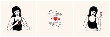 Set of vector illustrations with beautiful women showing love sign by hands. Self care, share love, body positive, acceptance. Female palms hold red hearts shapes. Smiling lady making fingers gesture