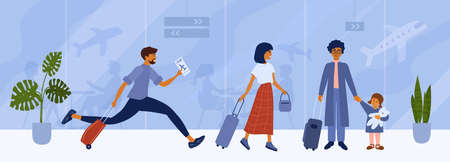 People at international airport waiting for flight. Happy man with ticket running to checking. Cute tourist woman with luggage in departure hall. Passengers in air terminal. Travel vector illustration