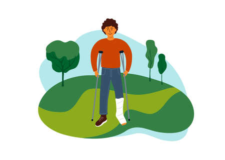 Young man with broken leg walking on nature park. Disabled guy with crutches enjoying life. Outdoor leisure with physical disability. Health care, positive attitude, rehabilitation vector illustration