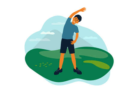 Outdoor physical activities, healthy lifestyle concept. Man doing side bends, sport exercise, stretching. Guy spends time on nature walking in park. Fitness workout, active leisure vector illustration Ilustração
