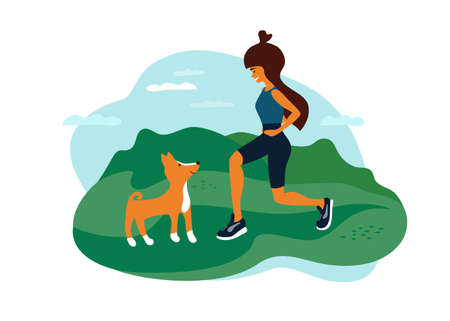 Outdoor activities vector illustration. Young woman walking in park, doing fit squats, sport exercise, playing with dog. Female healthy lifestyle, fitness workout, active leisure on nature landscape