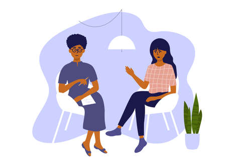 Psychological help. Psychotherapy session, therapy mental problem or female depression treatment. Sad woman and psychologist talking sitting on chairs. Anxiety, stress, health care vector illustration Ilustração