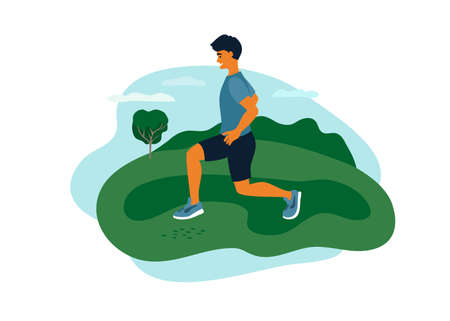 Man in sport clothes doing lunges exercise, training on fresh air. Outdoor physical activity, healthy lifestyle concept. Guy spends time on nature. Fitness workout, active leisure vector illustration Ilustração