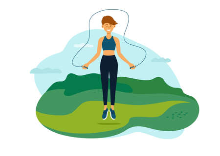 Outdoor physical activity on fresh air. Young woman jumping in park with jump ropes. Female training on nature. Fitness workout, sport exercise. Active leisure, healthy lifestyle vector illustration Ilustração