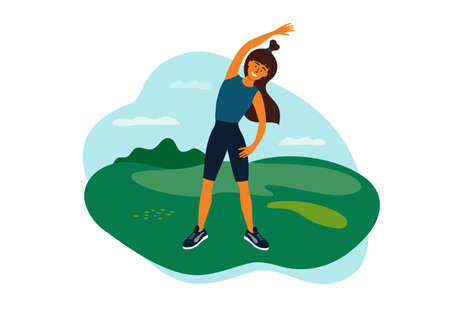 Outdoor physical activity, female healthy lifestyle, active leisure. Young woman doing side bends, sport exercise, stretching. Girl spends time on nature. Fitness workout in park vector illustration Ilustración de vector