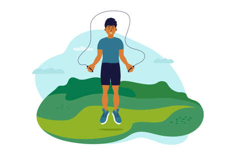 Outdoor physical activity on fresh air. Young man jumping in park with jump ropes. Guy training on nature. Fitness workout, sport exercise. Active male leisure, healthy lifestyle vector illustration