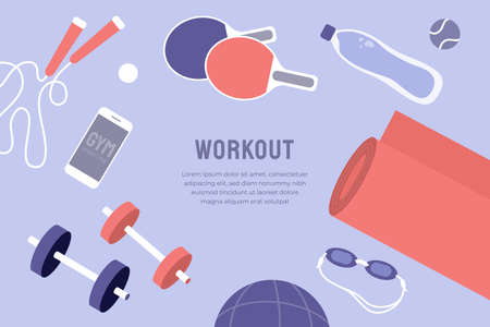 Vector template with sport goods and text. Illustration for fitness gym workout class, physical activity, healthy lifestyle blog. Yoga mat, jump rope, tennis ball, dumbbells,   goggles Ilustração