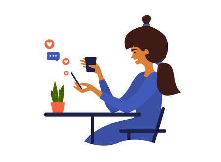 Young woman using smartphone. Cute girl sitting at table drinking coffee, chatting online, browsing social media. Smiling female with cup and mobile phone in hands surfing internet. Blogger routine