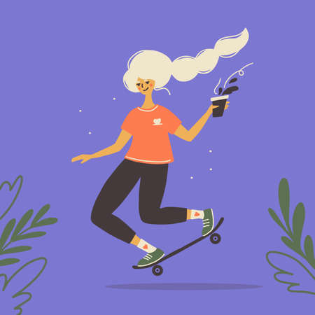 Skateboarding ride vector illustration. Young happy woman skater with coffee in hand riding longboard. Cute girl with white hair and black pants on skateboard. Female outdoor activities, healthy sport Ilustração