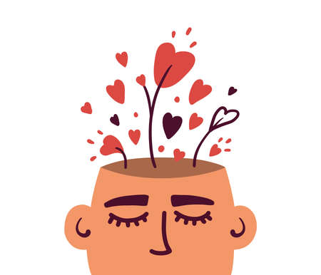 Growing love, positive mind, well mental health. Wellbeing, wellness mindset. Cultivating love in oneself. Heart shapes in human head. Self care, healthy brain. Psychology abstract vector illustration