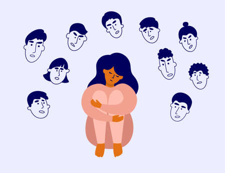 Sad girl surrounded by human heads with angry faces. Censure, crowd victim, blame, bullying. Feel of shame. Judgment, boundaries violation. Depressed woman sitting hugging knees. Vector illustration Ilustração