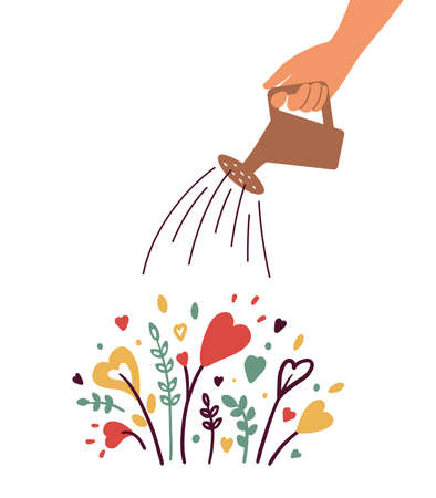 Growing love, health care, wellbeing or wellness. Human hand with watering can irrigates blossom heart shapes flowers. Cultivating love. Charity, volunteer work, therapy. Abstract vector illustration
