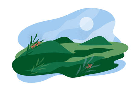 Abstract panorama of valley, landscape vector illustration. Summer or spring nature, green grass, hills, flowers and blue sky. Rural outdoor scene, countryside meadow, farm land. Isolated background