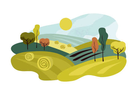 Agricultural field landscape. Harvest season vector illustration. Rustic outdoor scenery. Autumn nature, farm cultivated land. Panoramic countryside scene with hay rolls and trees. Isolated background