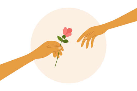 Love, dating, romantic relationship. Human hand holding out flower to partner. Couple of lovers. Give cute gift for darling. Romance and care. People in love. Happy Valentine day. Vector illustration