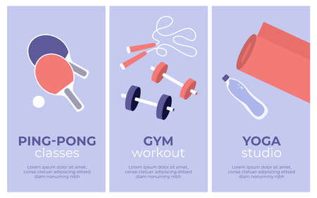 Set of vector sport activities banners. Yoga studio, gym workout, ping pong classes. Table tennis paddle, jump rope, dumbbells, fitness mat. Physical activity training, healthy lifestyle illustrations