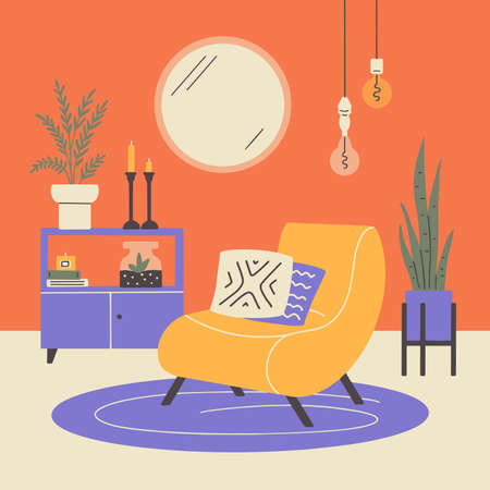 Scandinavian or japandi style home decor. Cozy interior design of modern apartment with houseplants, armchair, sideboard, round mirror. Boho pillows, candles. Living room furniture vector illustration