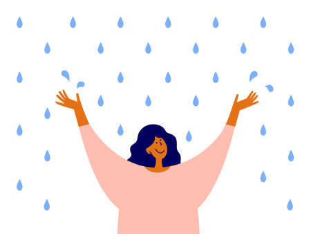 Happy woman with raised arms stands enjoying rain. Optimist female character. Cute girl catches water drops with hands. Love to life, positive mindset, emotion. Rainy day enjoyment vector illustration
