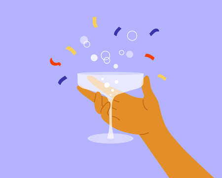 Human hand holding champagne saucer with bubbles. Congratulation, celebration birthday, anniversary, victory or holiday event. Man raises glass of drink, festive confetti. Party vector illustration