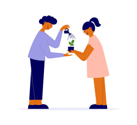 Couple of people growing new plant life. Family, parent, child vector illustration. Man irrigates baby sprout by watering can. Woman holding flower pot. Houseplant care. Investment, savings growth