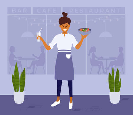 Young happy waitress or woman cafe owner carries meal. Restaurant worker holding food and drink. People sitting inside bar. Small business, public catering, cafeteria. Street cafe vector illustration Ilustração