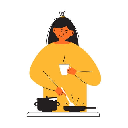 Cook healthy food at home yourself. Young woman with coffee cup in hand cooking homemade meal on stove. Mother preparing dinner or lunch frying in pan. Kitchen activity. Lifestyle vector illustration