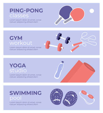 Set of sport activities banners. Yoga studio, gym workout, table tennis classes, swimming pool. Table tennis paddle, jump rope, dumbbells, fitness mat, swim goggles. Physical activity vector illustration