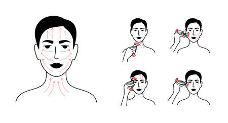 Vector icons set of facial massage by face roller. Skin care instruction, relaxing, lifting procedure. Woman making anti aging massage applying quartz massager by lines. Female portrait illustrations