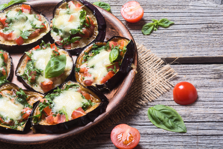Mini pizza with eggplant , tomato and basil Stok Fotoğraf