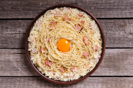 Pasta spaghetti with bacon , egg and cheese parmesan