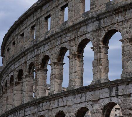 the ruins of an ancient amphitheater.Pula.Croatia