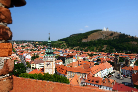 The view of Mikulov city from the castle with a tilt-shift effect, Czech Republic.