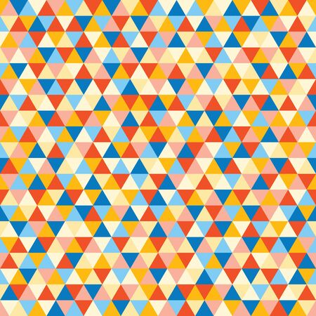 Blue, red, yellow seamless triangle pattern, background, texture.