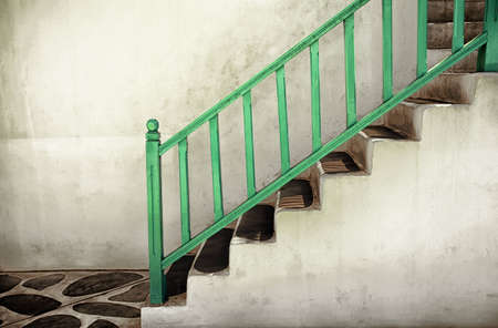 Dirty stairs with handrails photo