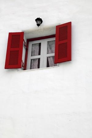 Red window Greek Style photo