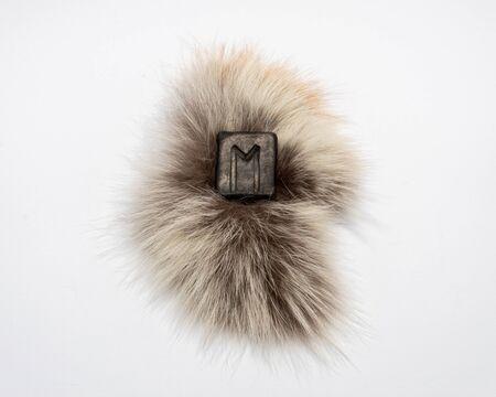 Rune nordique Ewaz, isolée sur fond de fourrure et blanc. Air, réflexion, vitesse, vols aériens réussis. Méditation, illumination. La rune est associée au cheval à huit pattes d'Odin Sleipnir.