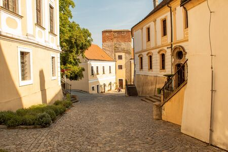 Cobbled street of the old city. Horizontal view.  Mikulov, Czech Republic. Stok Fotoğraf